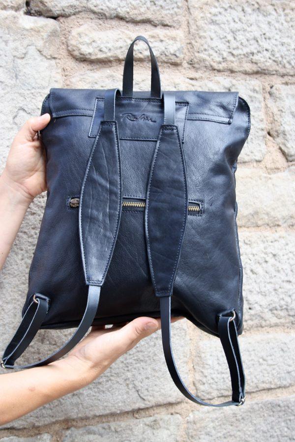 black backpack back