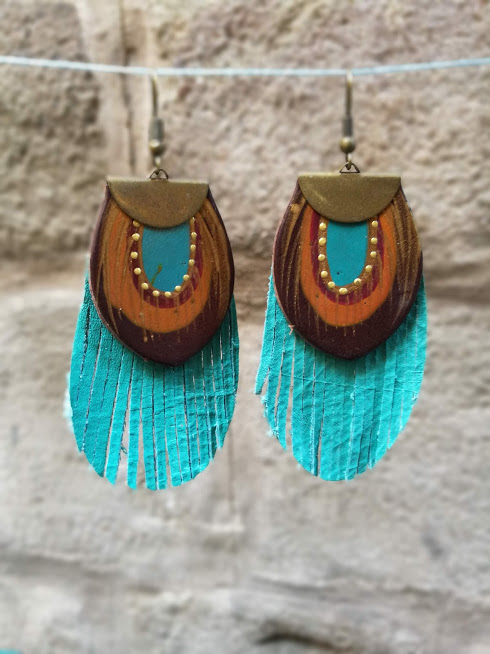 fringe teal and brown earrings rossymina