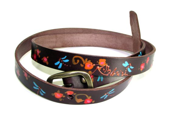 brown leather belt dragonflies rossymina
