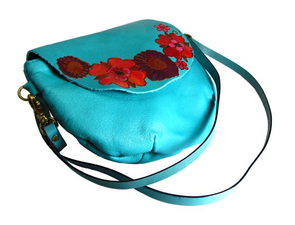 teal round bag with flowers