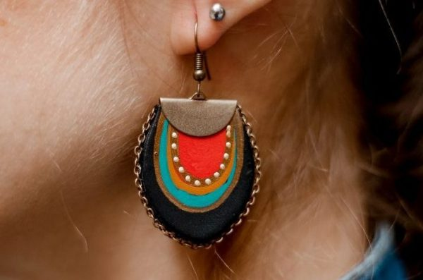 black earrings with chain