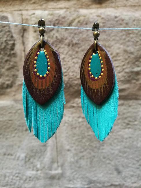 teal and brown earrings