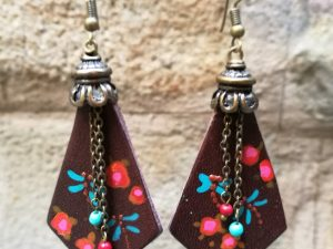Rombus-shape earrings with Beads
