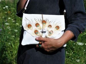 White Leather Bag with Peacock Feather Design