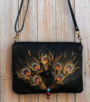 Black Leather Bag with Peacock Feather design