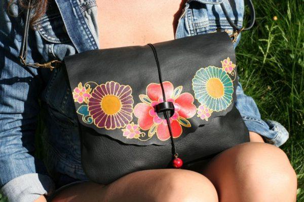 black leather bag flowers rossymina