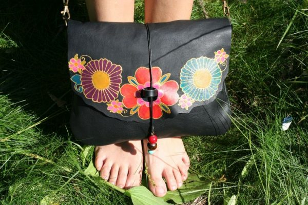 black leather bag with flowers rossymina