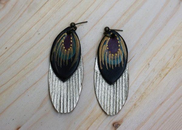 golden black earrings