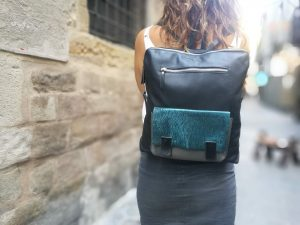 Black Backpack with Shiny Blue front pocket