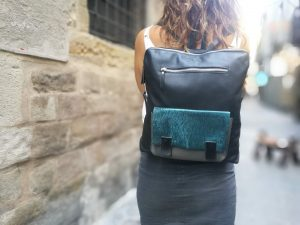 Black Backpack with Shiny Blue front pocket