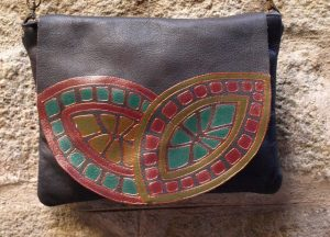 Brown Leather bag with geometrical design