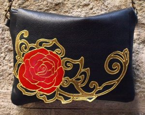 Black Leather Bag with Rose