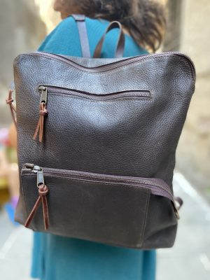 Sturdy brown backpack with front pocket