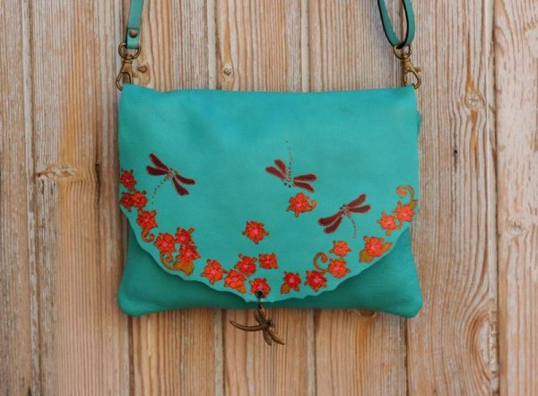 teal dragonfly bag