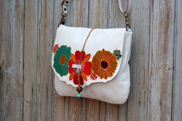 white bag with flowers