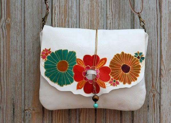 white leather bag with flowers rossymina