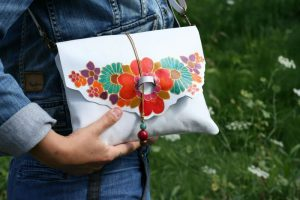 White Leather Bag with Flowers