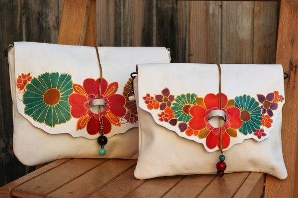 white bags with flowers
