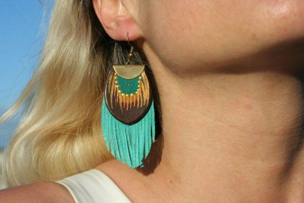 teal fringe earring rossymina