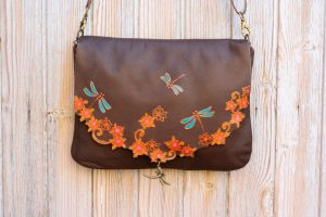 Brown Leather Bag with Dragonflies