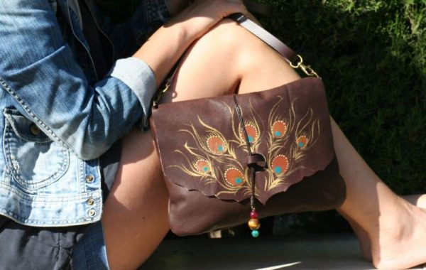 brown leather peacock bag rossymina