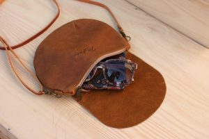 Small Tan Leather Bag with mumms