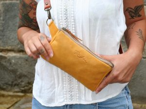 Mustard Yellow Leather Fanny Pack