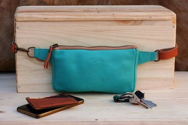 teal fanny pack