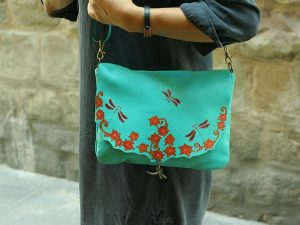 Turquoise Leather bag with dragonflies
