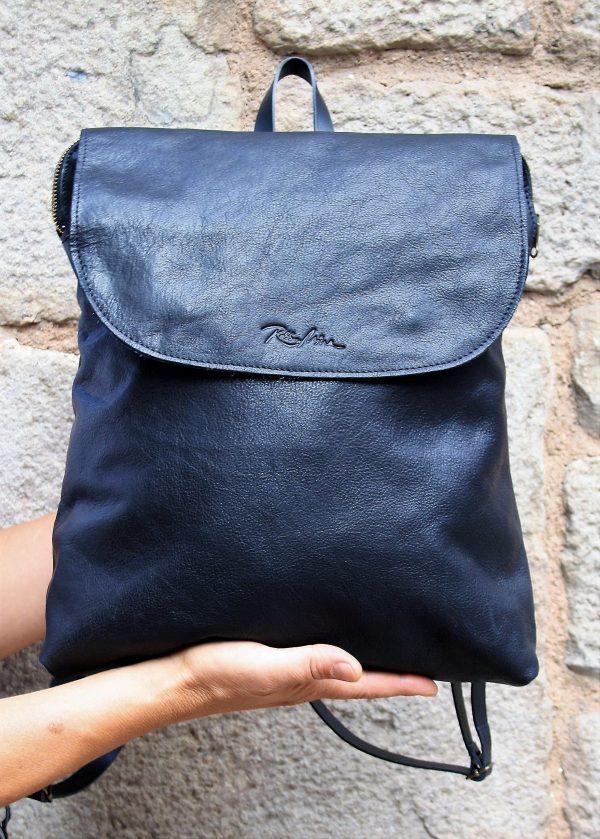 black backpack flap