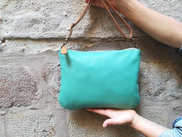 zipper aqua green bag