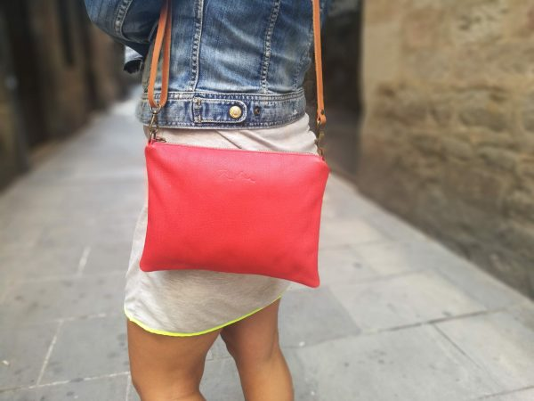 red bag with a zipper