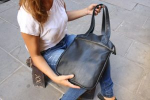 Black Zipper Tote Bag