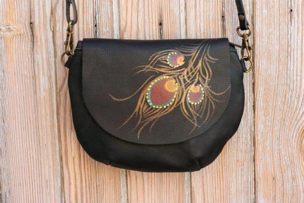 black peacock bag