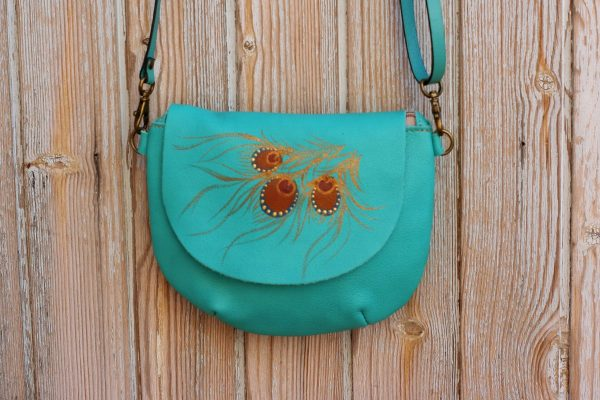 teal round peacock bag