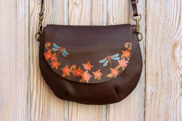 Brown round bag with dragonflies