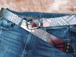 Brown Belt with geometrical design