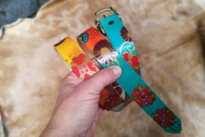 Colorful Leather Belt with Flowers