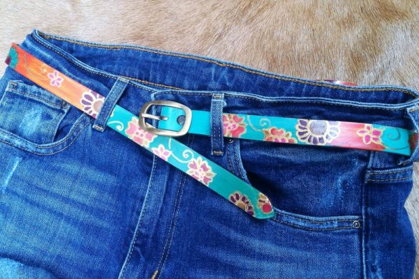 teal belt colorful flowers
