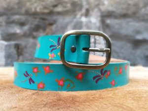 Teal Belt with Dragonflies