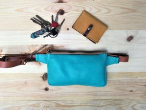 Teal Leather Fanny Pack