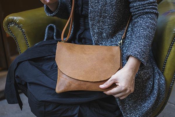 tan color flap leather bag rossymina
