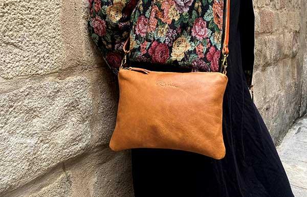 tan leather crossbody bag Rossymina