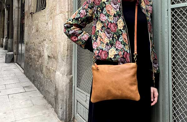 tan zip crossbody leather bag rossymina