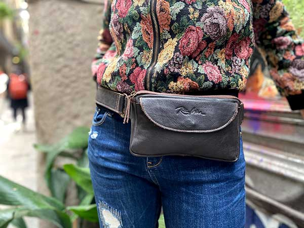 brown leather fanny pack rossymina