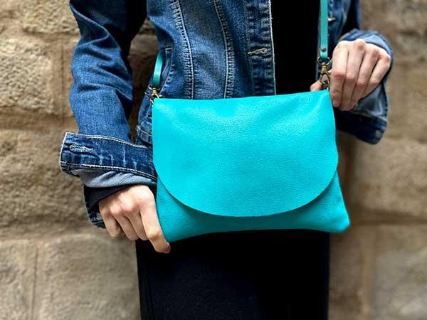 teal leather bag rossymina