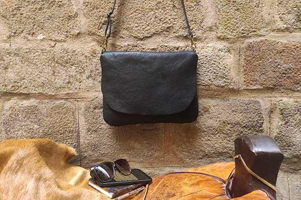 black flap leather bag rossymina