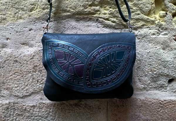 black leather bag geometric rossymina
