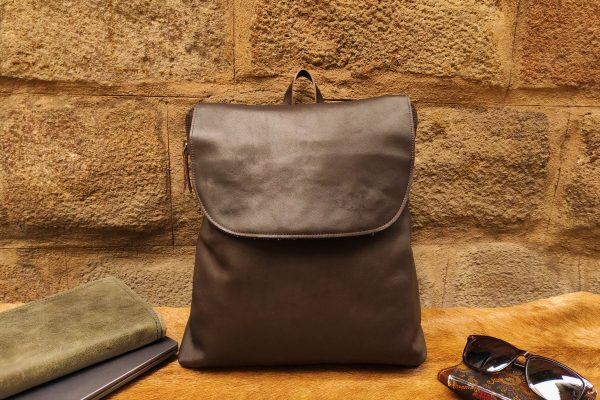 brown flap backpack rossymina