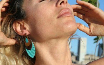 teal fringe earring